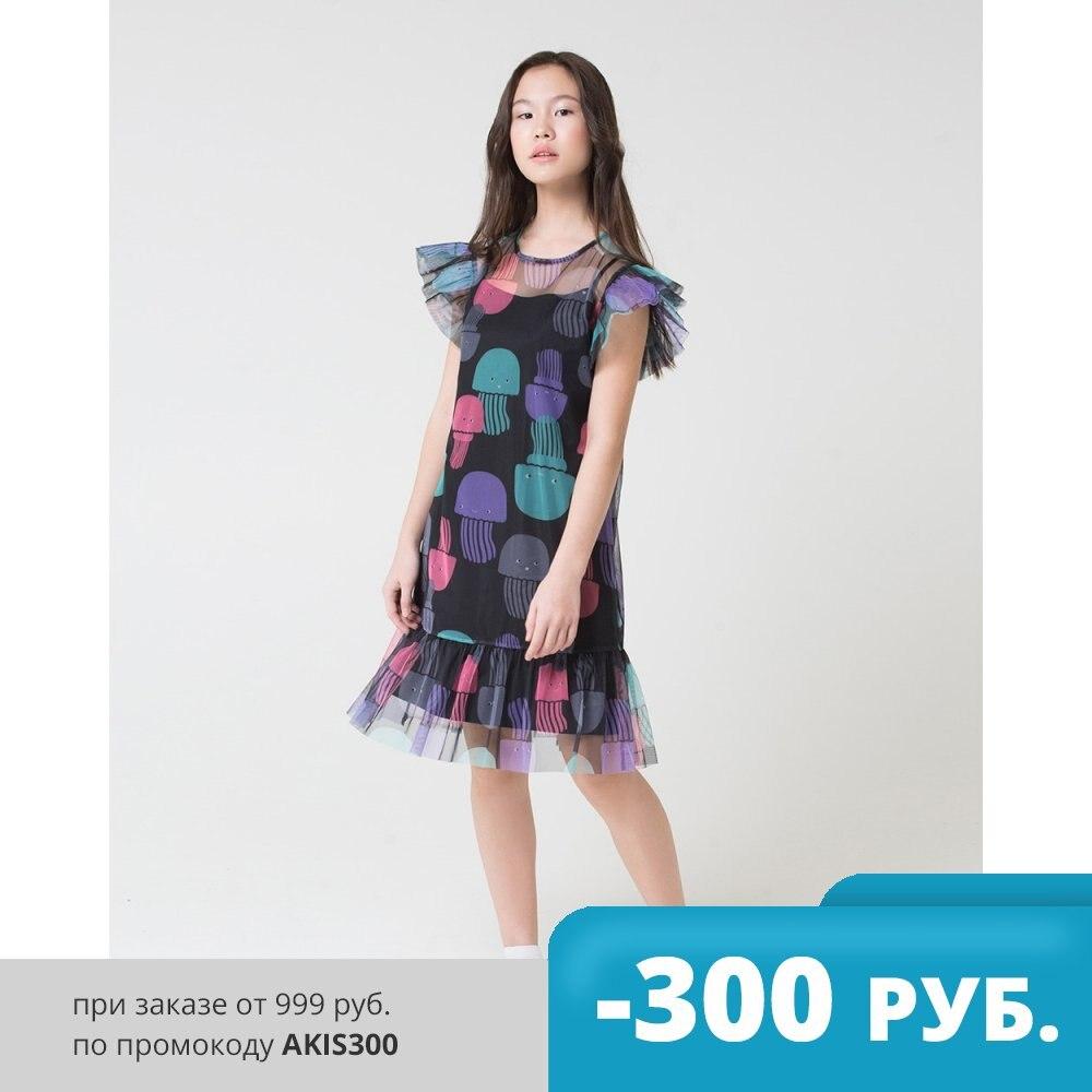Платье CUBBY КБ 5534 для девочек медузы на черном черный