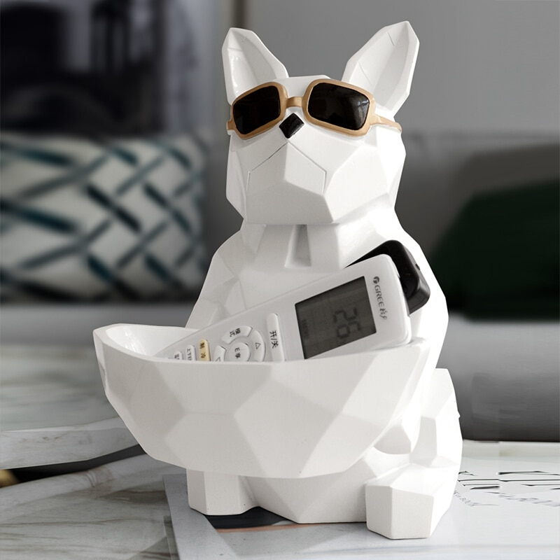 Nordics Cool Dog Statue Animal Sculpture Ornament Table Candy Dish Key Storage Box Tissue Box Home Decoration Accessories Gift