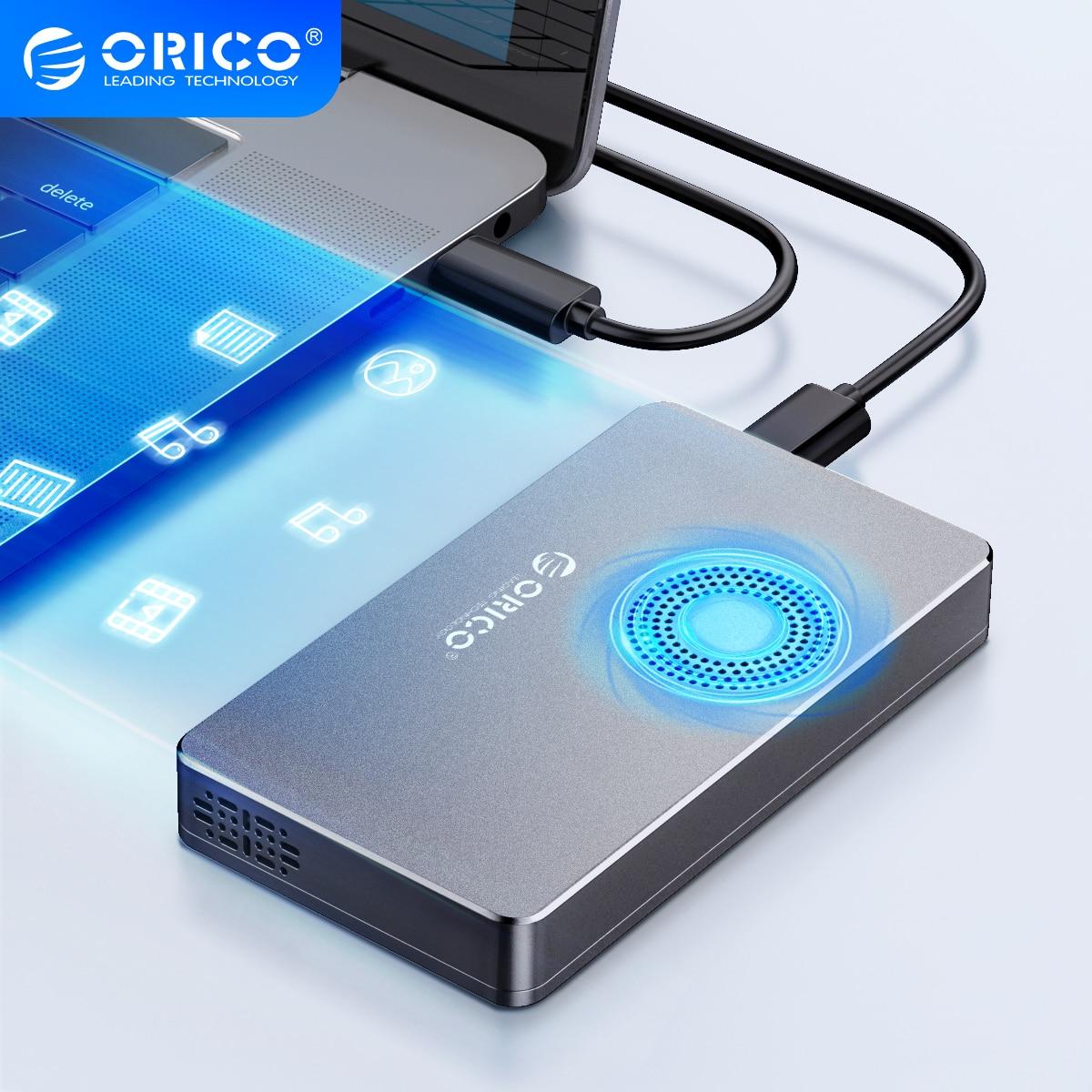 ORICO M2 NVME SSD Case with Fan M.2 to USB3.1 Gen2  for M.2 M Key M+B Key SSD Disk USB C 10Gbps Hard Drive Enclosure M.2 SSD Box