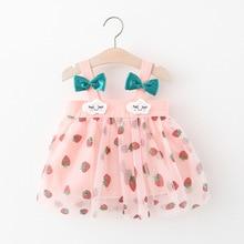 여름 유아 아기 소녀 옷 민소매 딸기 인쇄 단추 스트랩 보우 미니 드레스 캐주얼 의류 여름 Sundress 1-4Y