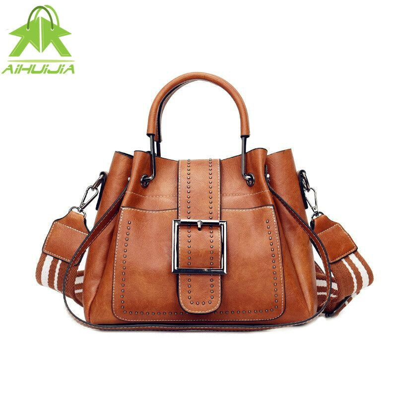 Bags For Women 2019 New Fashion PU Leather Handbags Crossbody Bag For Women Vintage Bucket Shoulder Bag Ladies Handbag Sac Femme