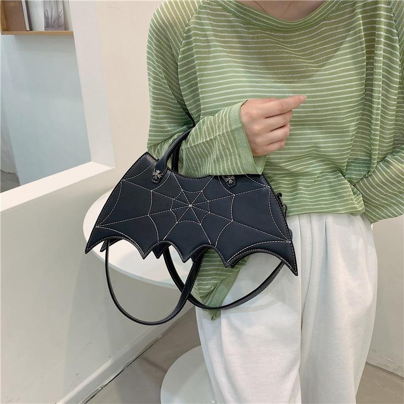 Индивидуальные сумки через плечо с летучая мышь для женщин, новинка 2021, черная сумка на плечо в стиле панк, женские повседневные дорожные сумки, сумки-тоуты