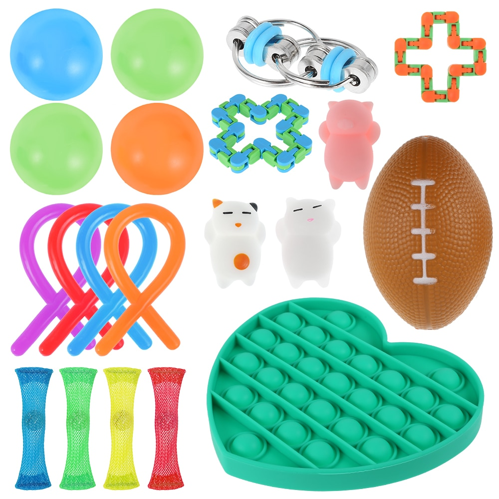 1 Set Sensory Toy Set Stress Relief Toys Autism Anxiety Relief Stress Pop Bubble Fidget Sensory Toy For Kids Adults enlarge