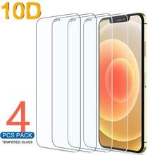 10D 4 pezzi di vetro protettivo per iPhone 7 8 6 6s Plus X protezione dello schermo per iPhone 11 12 13 Pro X XR XS MAX SE 5 5s vetro
