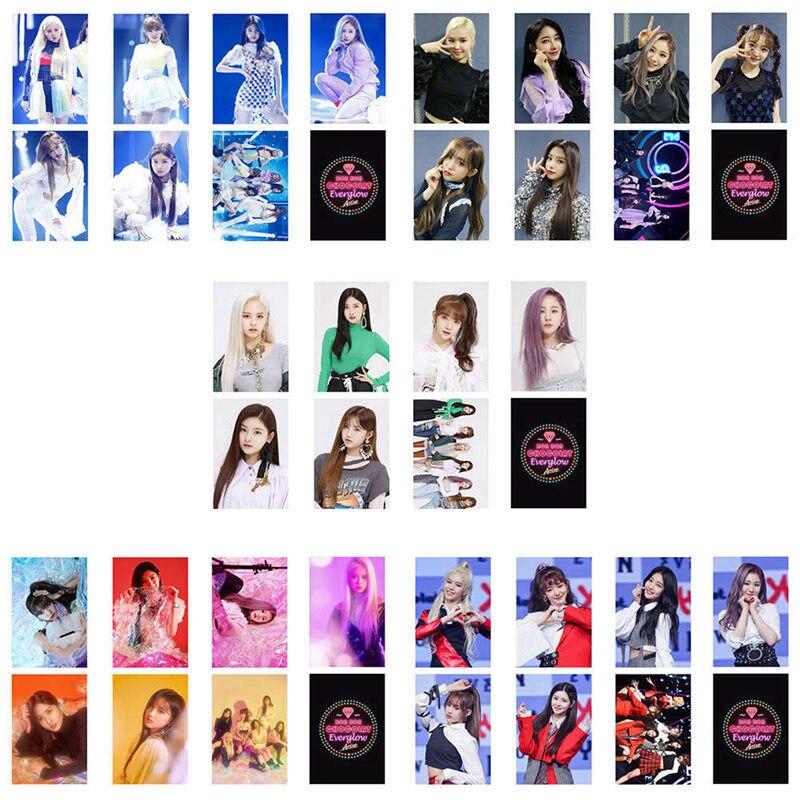 7 unids/set de álbum KPOP Everglow coreano de alta calidad Set de tarjetas pequeñas de doble cara Set de tarjetas de PVC auto hecho tarjeta LOMO foto tarjeta