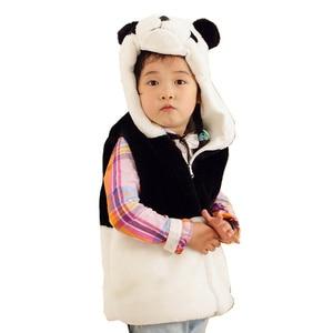 DOUBCHOW Kids Cute Clothing Animal Vest Unisex Childrens Cartoon Block Color Panda Winter Hooded Boys Girls Costume Outwear Coat