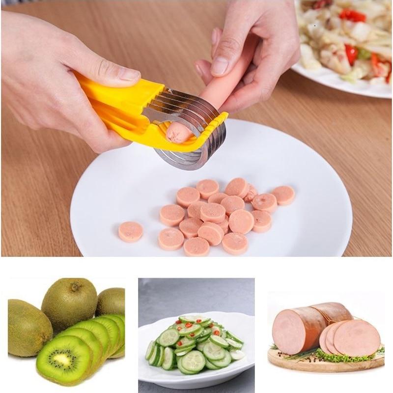 Jambon banane trancheuse Cutter outils de cuisine écologiques en plastique légumes fruits trancheuses Cutter concombre Sala déchiqueteuses outils de cuisson