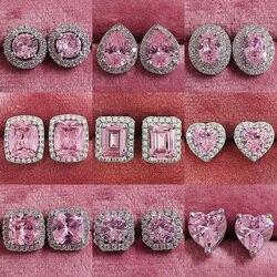2021 recém chegados moda luxo 925 prata esterlina zircon parafuso prisioneiro rosa brincos de orelha para mulheres menina presente festa jóias z7