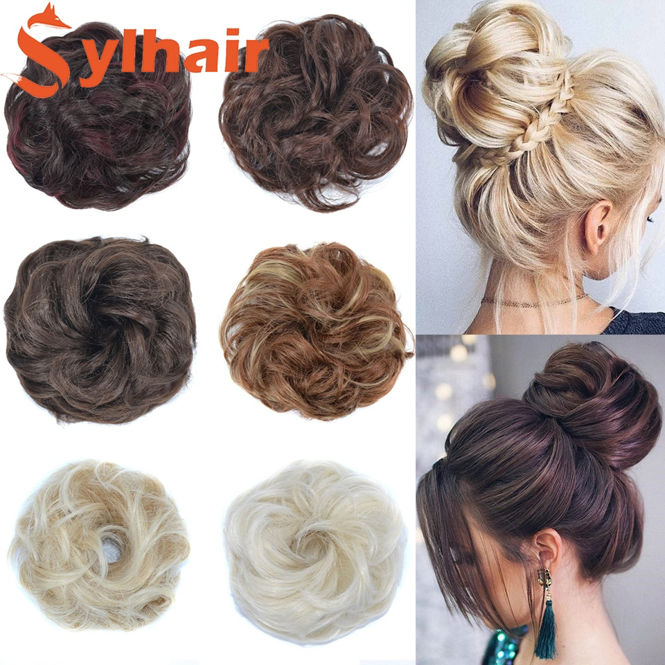Sylhair Beauty Elastic Band With Hair Messy Bun Scrunchie Chignon With Elastic Band Messi Hairpieces Donut For Women Kids