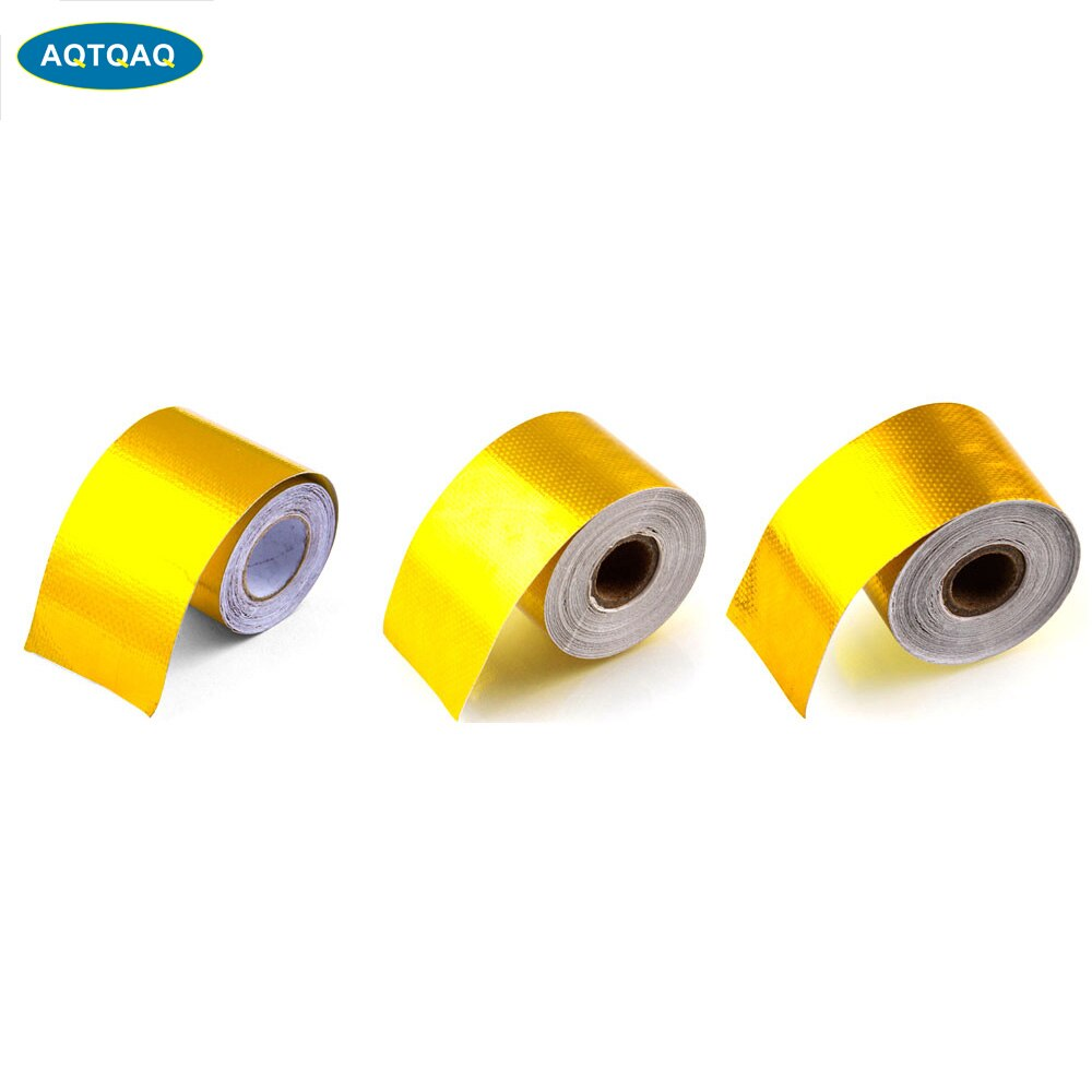 1Set 5M/9M/10M Length High-Temperature Heat Reflective Adhesive Backed Roll, Gold Heat Wrap Tape