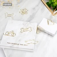 gold shaped paper clip simple office paperclip cutout bookmark paper clips office accessories heart clips