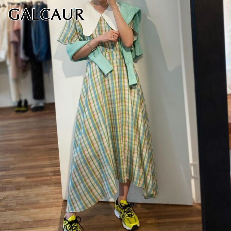 GALCAUR Korean Plaid Hit Color Dress Women Peter Pan Collar Short Sleeve High Waist Oversize Asymmetric Dresses Female 2020 New