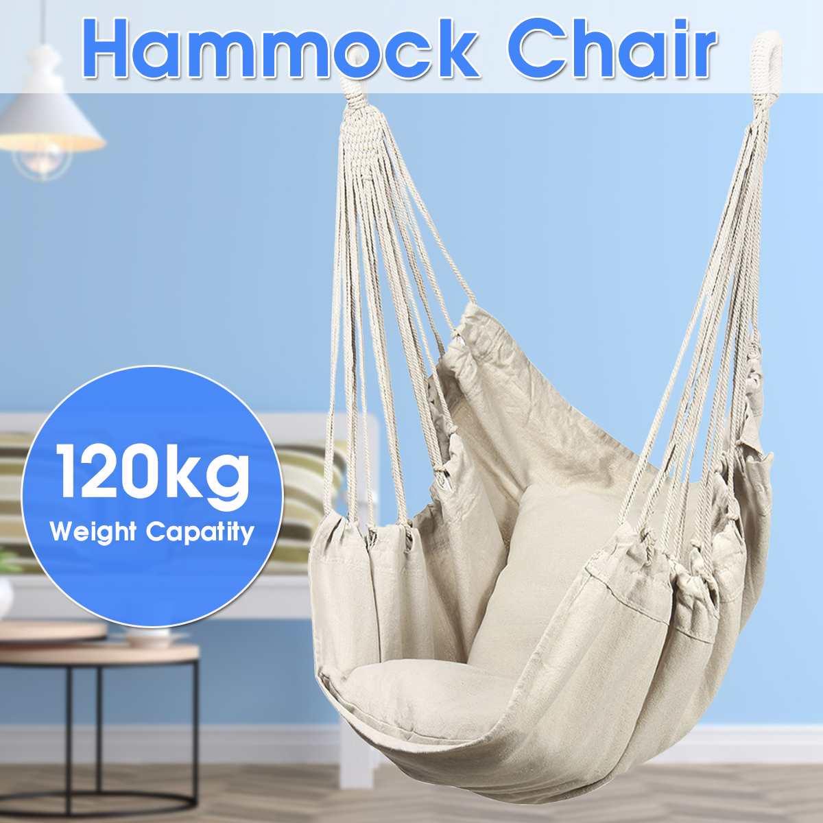 Estilo nórdico blanco hamaca al aire libre jardín interior dormitorio silla colgante para niño adulto Swinging Single seguridad hamaca