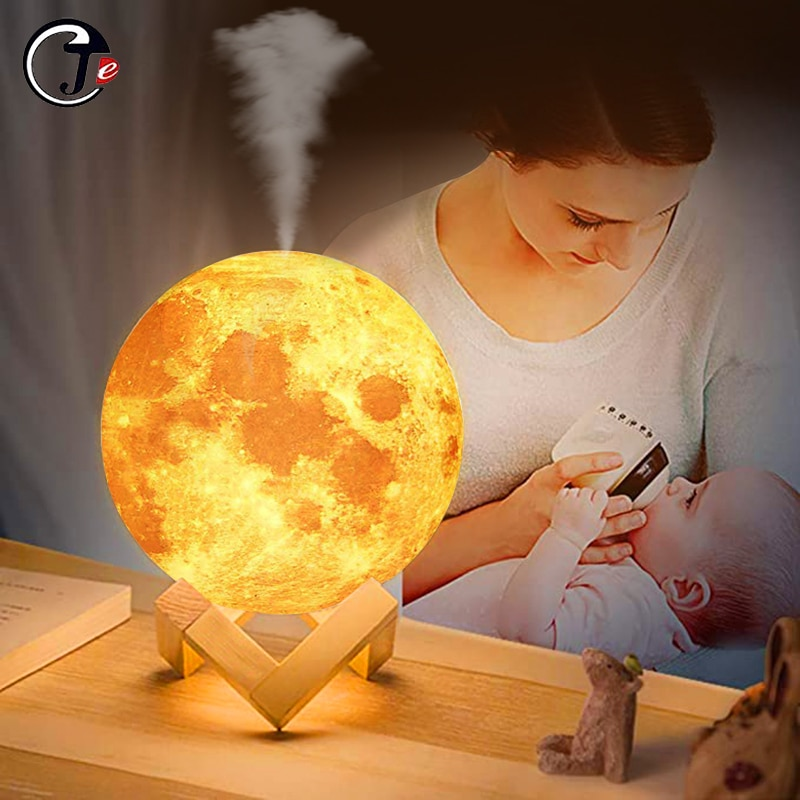 New 880ML Air Humidifier 3D Moon Lamp light Diffuser Aroma Essential Oil USB Ultrasonic Humidificado