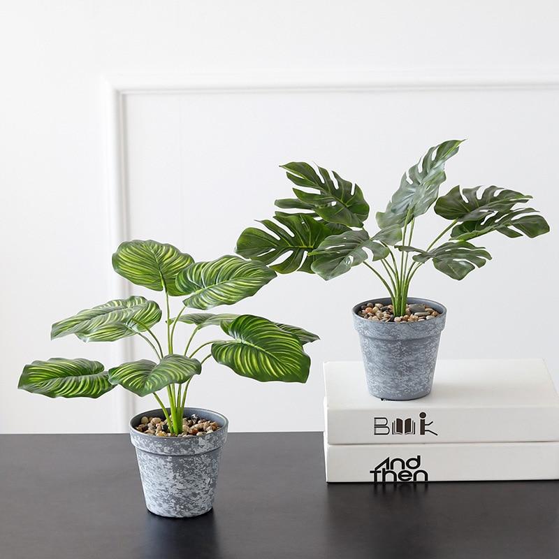 Plantas artificiales en maceta Evergreen, plantas de hoja falsa, árbol verde de plástico, hogar, jardín, oficina, decoración DIY