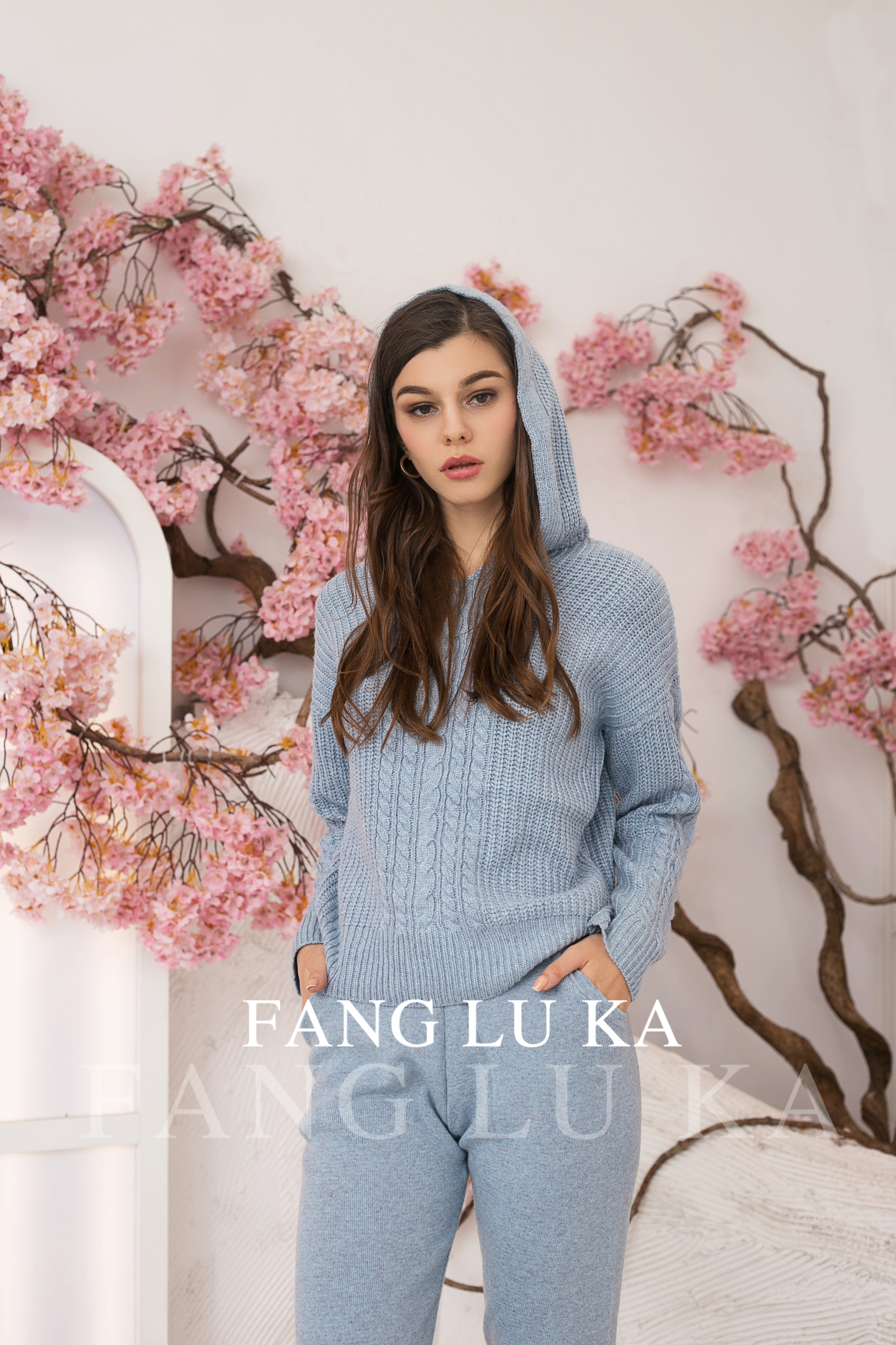 High end cashmere knitting hoodie two piece women's fashion sets new hoodie+casual Leggings two piece in autumn and winter enlarge
