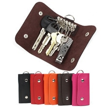 Women Men Keys Holder Organizer Manager Patent Leather Buckle Key Wallet Case Car Keychain Femme Mal