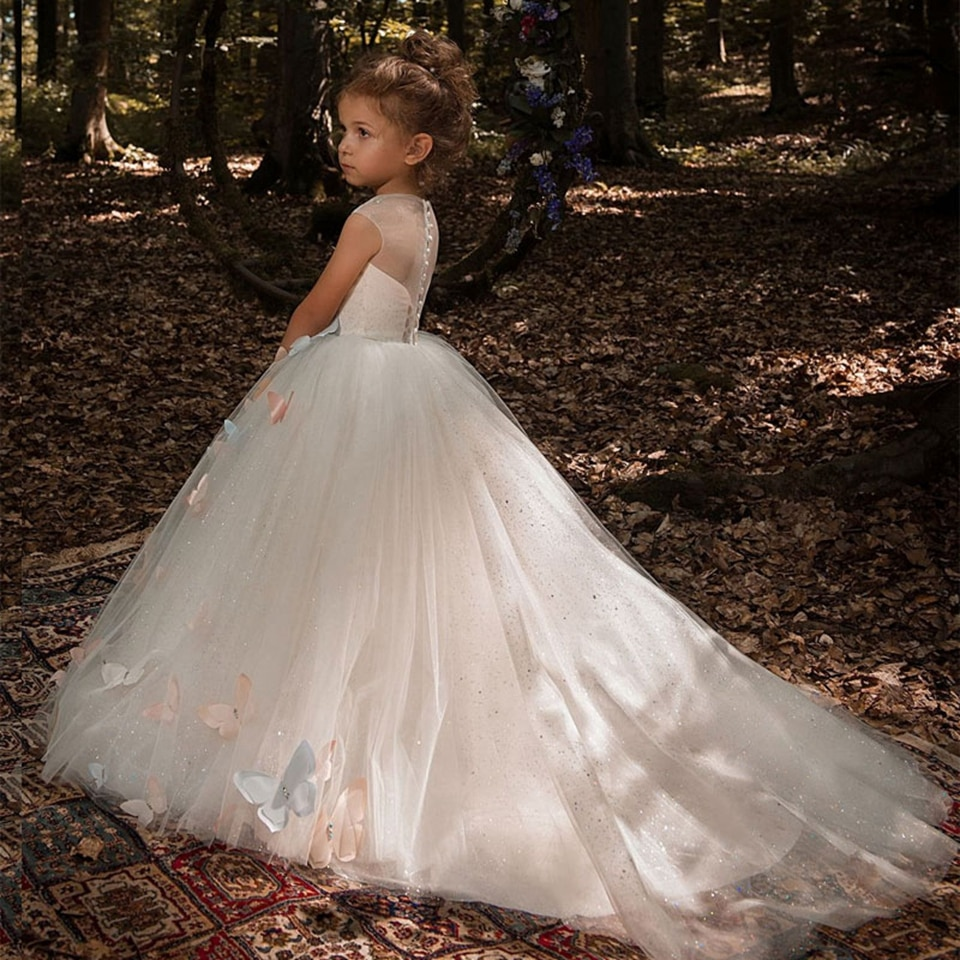 Ball Gown Fower Girl Dresses 2020 Sleeveless Sequins Princess Dress For Weddings Elegant Butterfly First Communion Pageant Gowns