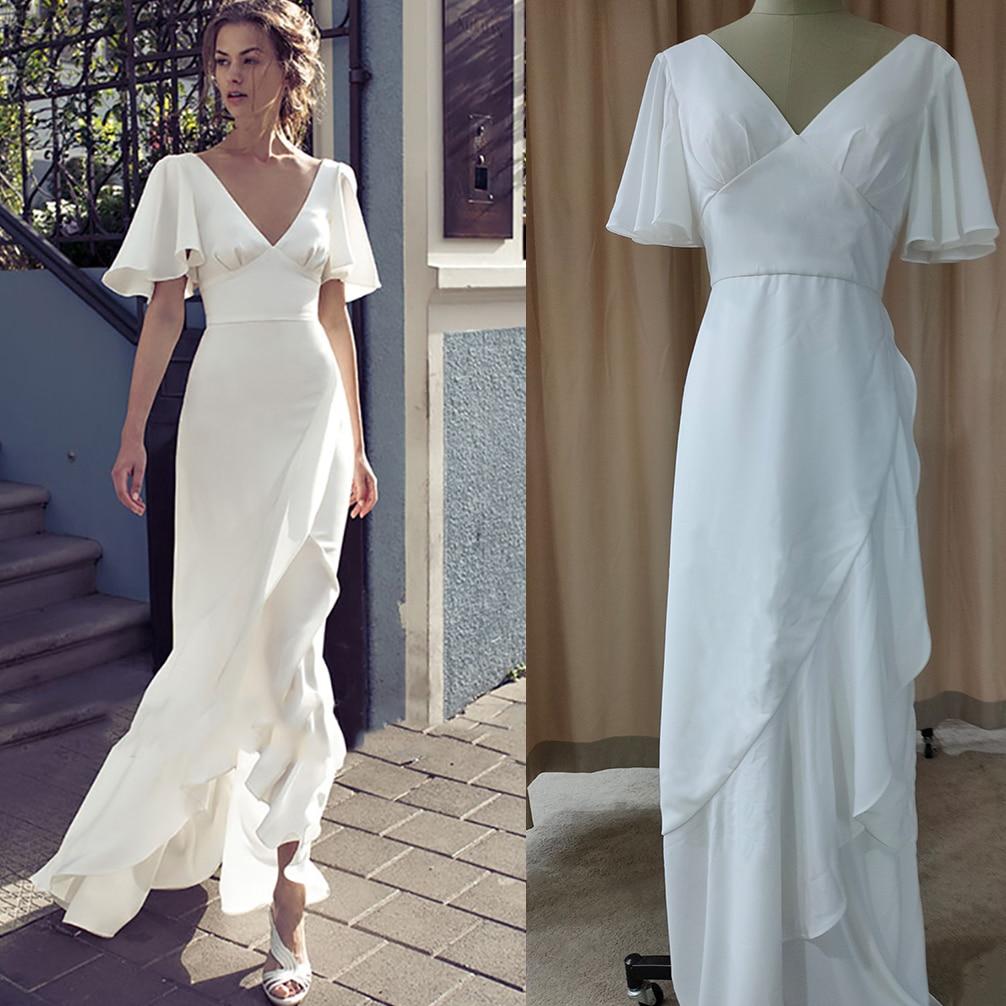 Get Soft Chiffon V Neck Bridal Gowns Short Sleeves Summer Beach Sheath Simple Off White Custom Made Ruffed Open Back Wedding Dress