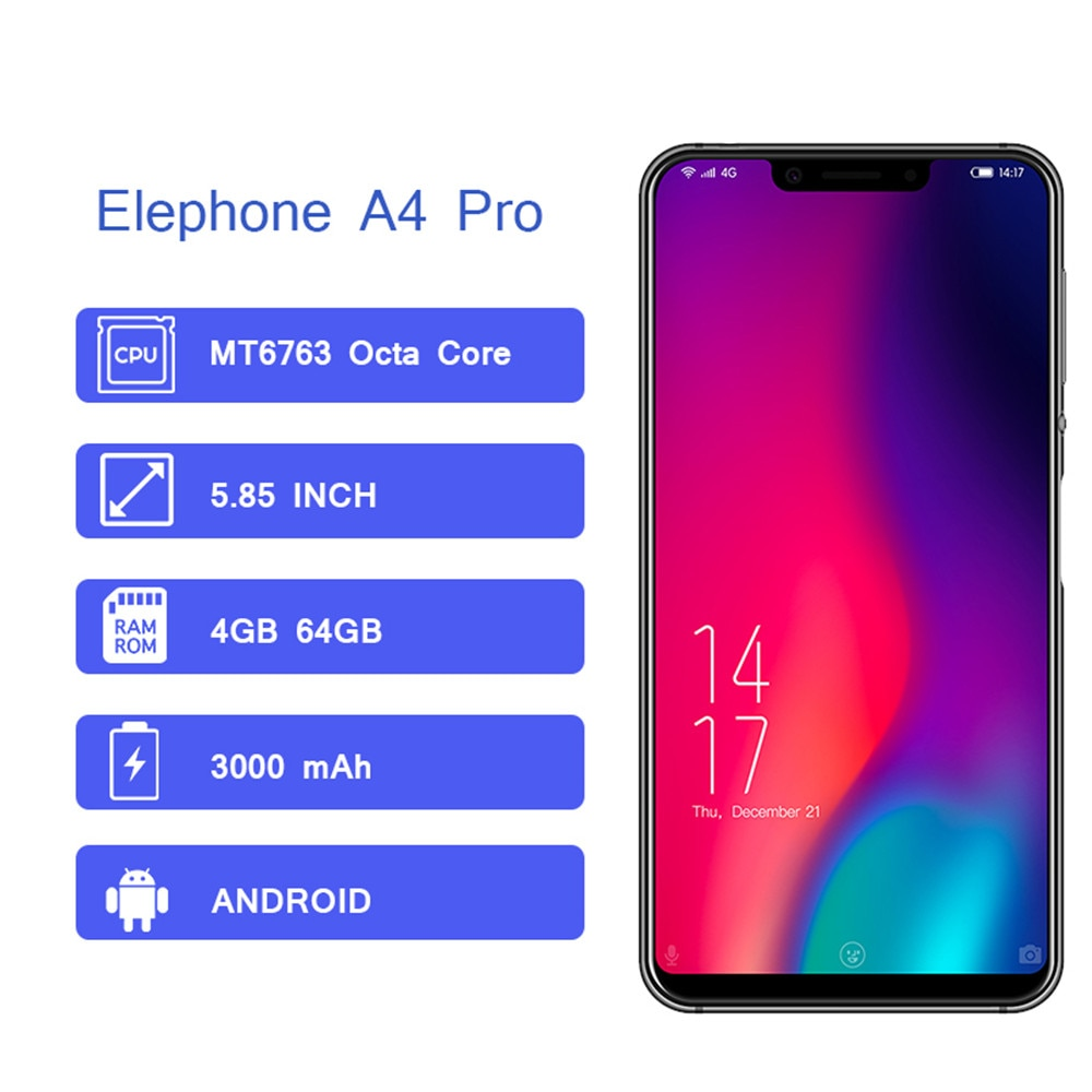Elephone A4 Pro 4GB 64GB Smartphone 4G LTE Android 8.1 MTK6763 Octa Core 16MP 3000mAh 5.85'