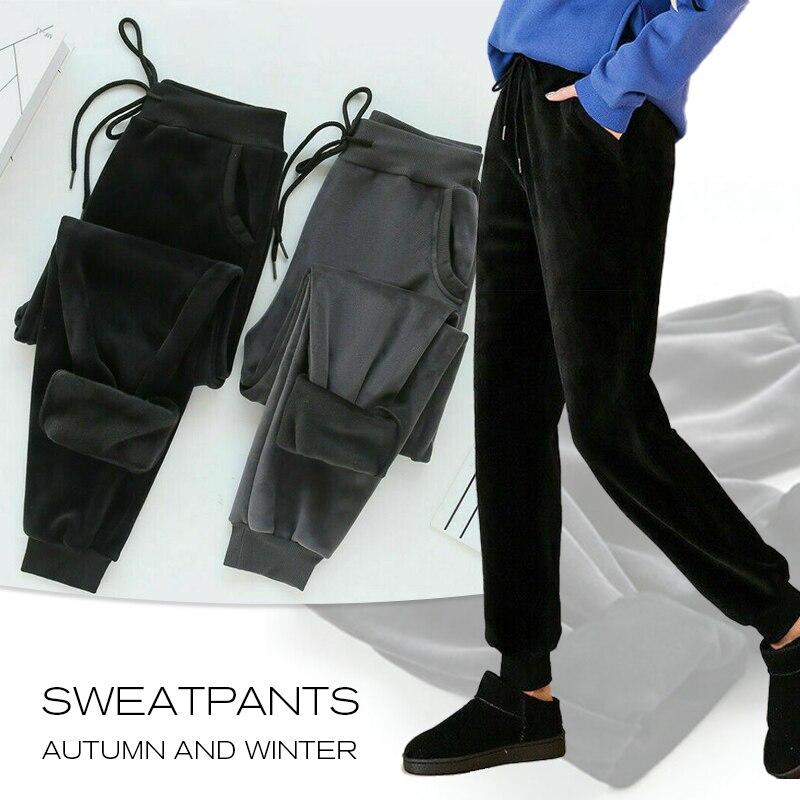 Осенне-зимние плотные Женские повседневные Бархатные брюки с высокой талией, женские утепленные шерстяные брюки, эластичные длинные брюки ...