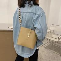 womens bucket bag retro luxury pu shoulder bag large capacity messenger broadband fashion simple pure color bag