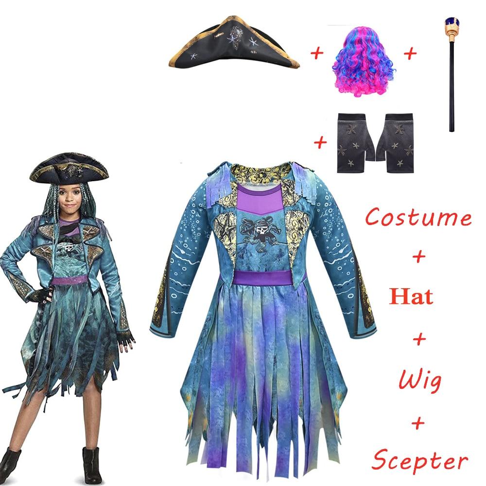 2020 new cosplay Descendants 3 Uma Ursula Girl's pirate costume blue rainbow wig Halloween Carnival Makeup Party Costume Prop