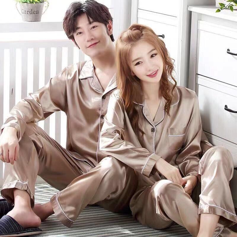 Темно-синий мужской атлас пижамы комплект 2 шт. Рубашка 26 штанов плюс размер пижамы костюм длинный рукав пара одежда для сна одежда для сна