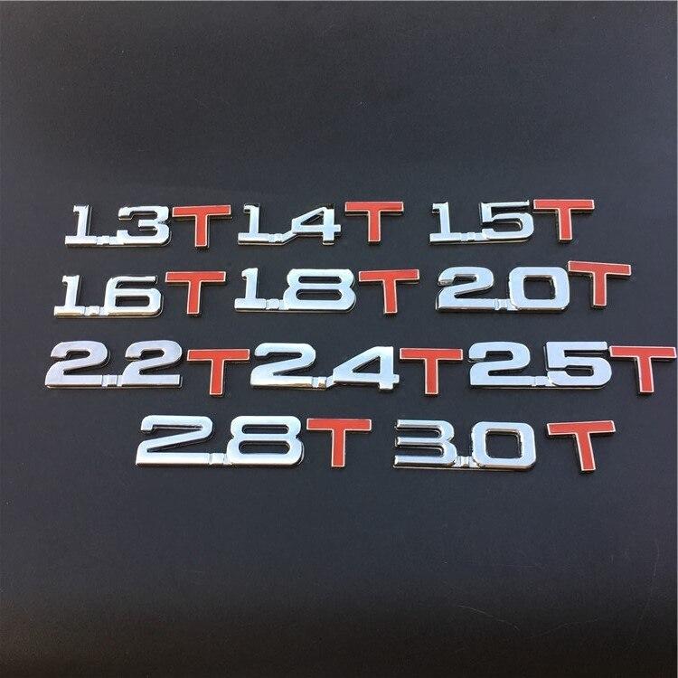 1 шт. 3D металлическая эмблема Turbo значок для заднего багажника 1,4 T 1,5 1,6 1,8 2,0 2,2 2,4 2,5 3,0 наклейки и Переводные картинки автомобиля