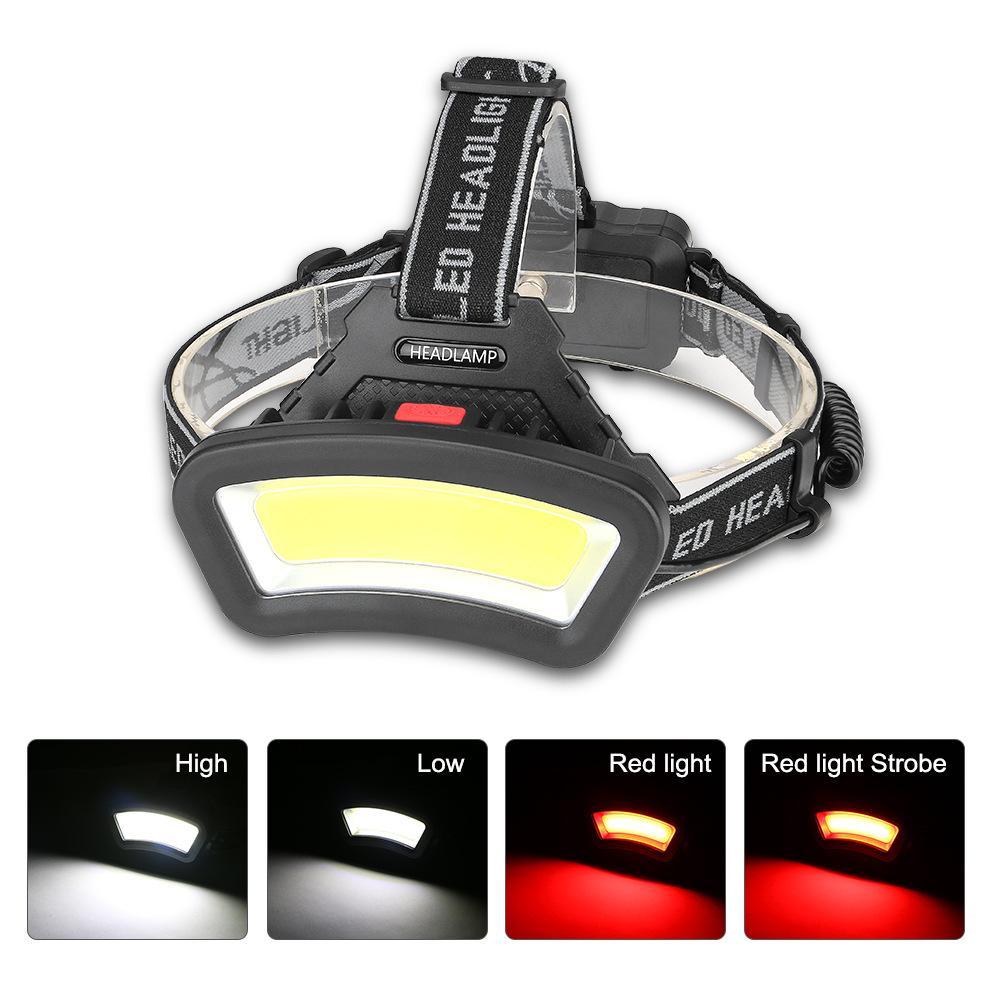 Faro delantero LED COB, recargable, impermeable, con diadema ajustable, multifunción, 4 modos de iluminación, lámpara frontal