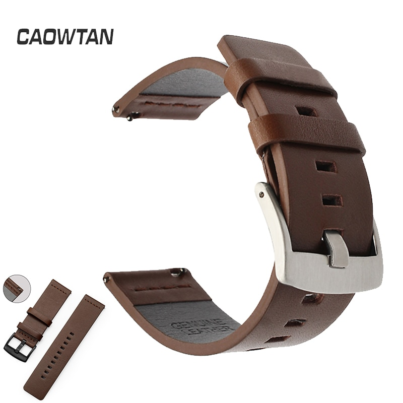 20mm 22mm Genuine Leather Watch band for Samsung Galaxy watch 46mm Gear s3 Bracelet Galaxy Watch 3 Strap Quick release 18mm 24mm calfskin leather watchband quick release watch band wrist strap 18mm 20mm 22mm 24mm smart watch strap watches accessories