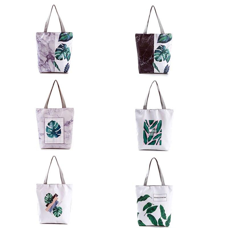 Borsa di tela, bolsas de comestibles reutilizables a la moda, bolsa de mano ecológica, bolsa de compras reutilizable Floral, bonita bolsa de playa barata impresa