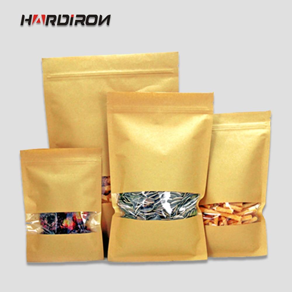 Bolsas de papel Kraft con plaza de ventana de papel kraft recerrable de fondo plano bolsas de comida seca botanas para el té de almacenamiento de bolsas de paquete