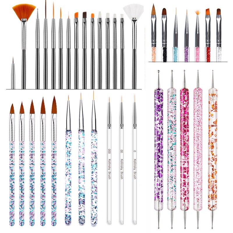 AliExpress - Set UV Gel Painting Nail Art Dotting Pen Acrylic Handle Rhinestone Crystal 2 Way Brush Salon Decoration Manicure Tools Kit