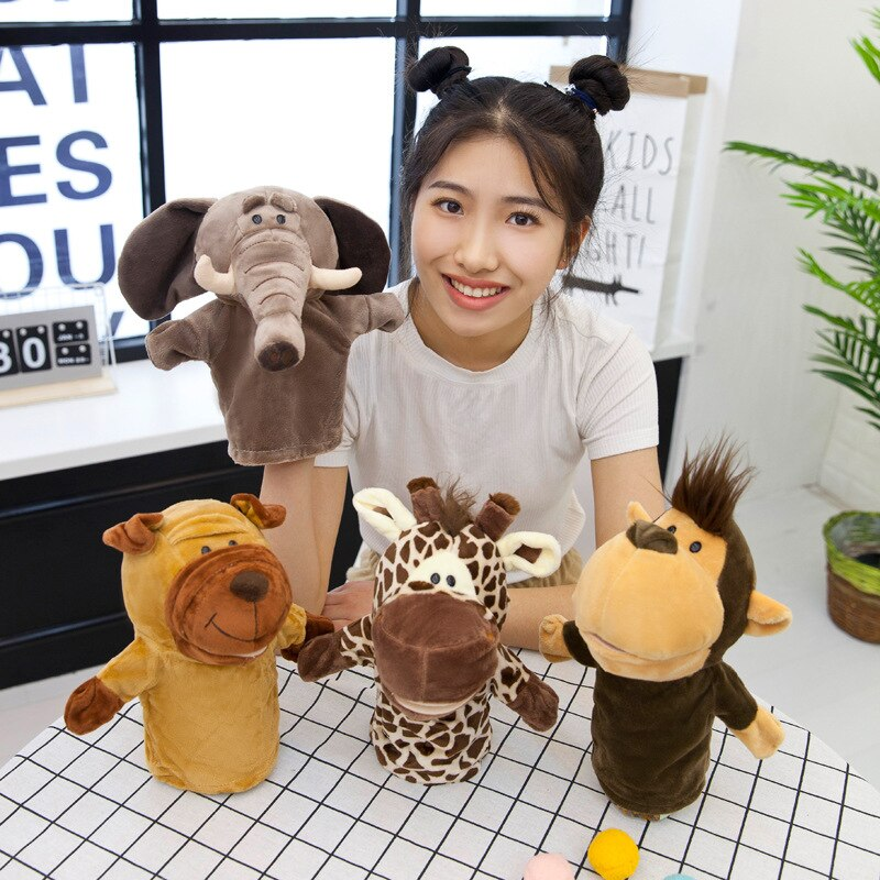 Ventriloquismo sólo Animal marioneta de mano de peluche de juguete León elefante muñeca juego de cuentos de dibujos animados guantes muñeca