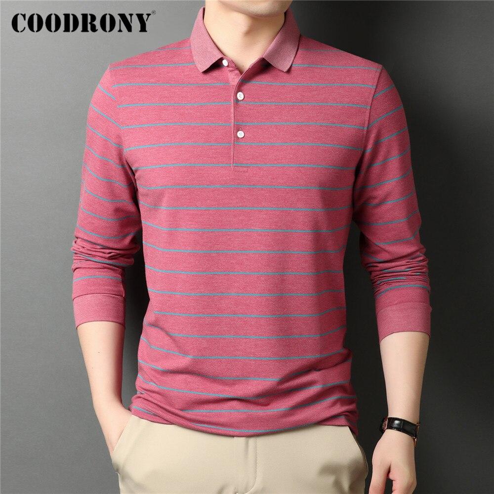 COODRONY ماركة ربيع الخريف جديد وصول عالية الجودة الأعمال عادية مخطط طويل الأكمام بولو قميص الرجال الملابس S - XXXL C5081