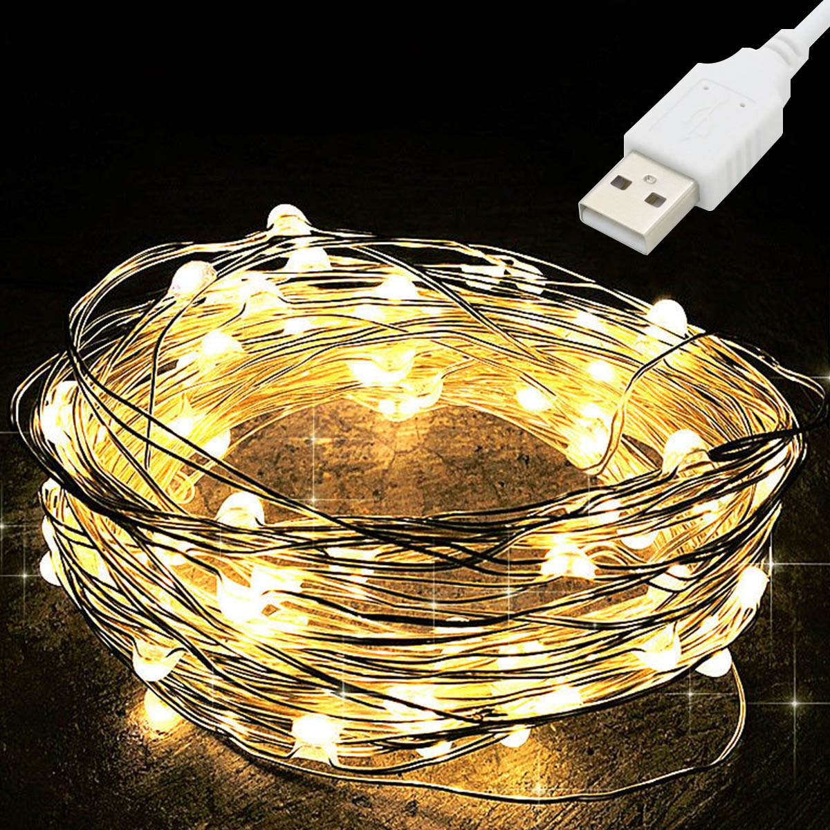 fairy lights usb 5m 10m silver led copper wire string light christmas holiday lights wedding patio decorations garden lighting 10M USB LED String Light Waterproof LED Copper Wire String Holiday Outdoor Fairy Lights For Christmas Party Wedding Decoration