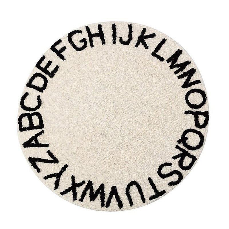 سجادة لعب دائرية للأطفال ، حروف أبجدية Abc ، حياكة فائقة النعومة ، تعليمية ، منطقة قابلة للغسل ، قطر 120 سنتيمتر ، بيج