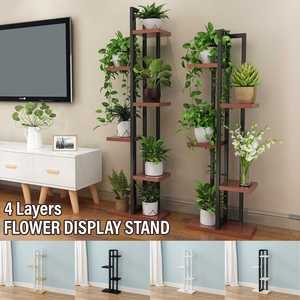 Iron Plant Shelves Multifunction Storage Shelf Display Holder Home Garden Flower Pot Organizer Living Room Balcony Storage Rack