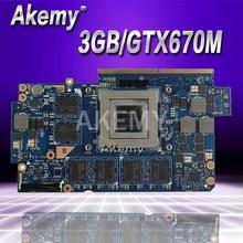 Akemy tarjeta de vídeo para For Asus G75V G75VX 3GB GTX670M más configuración N13E-GR-A2 tarjeta gráfica 100% probado envío gratuito