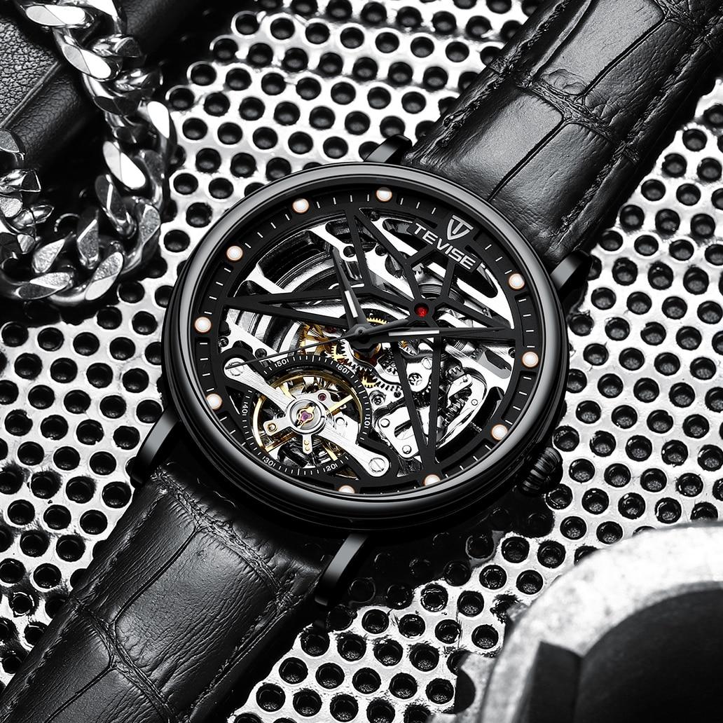 TEVISE Design Brand Luxury Men Watches Automatic Black Watch Men Stainless Steel Waterproof Business