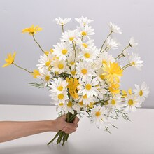 White Daisy Artificial Flowers Long Branch Bouquet for Home Wedding Garden Decoration DIY Bridal Silk Fake Flower Accessories