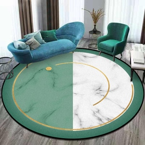 Simple marble Green and white stitching round carpet plush wooden floor mat bathroom non-slip door mat 160cm round mat customize