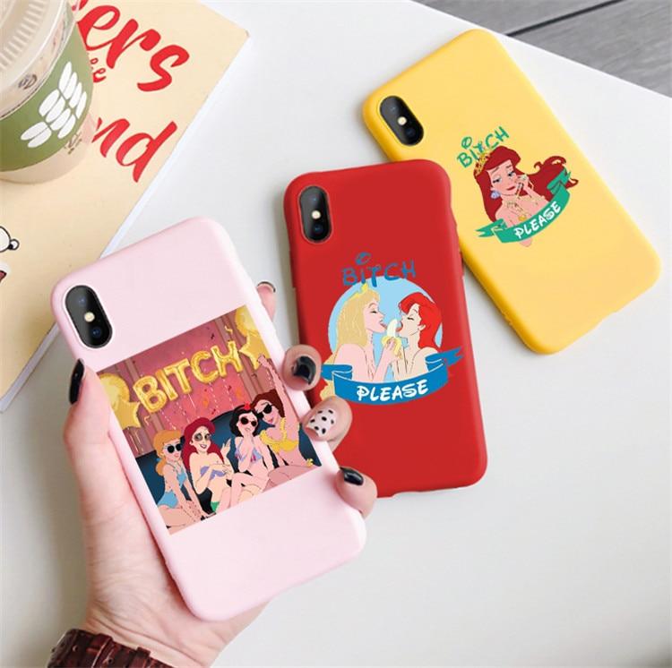 Un bitch please con las princesitas Disneys Case For iPhone 11 pro XS MAX XR 6 6s 8 7 Plus XS Candy soft Silicone Phone cover