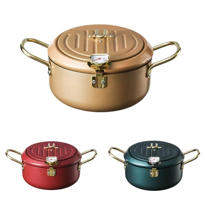 مقلاة عميقة للمطبخ مع غطاء ومقياس حرارة غير لاصقة من Tempura مقلاة عميقة من الفولاذ المقاوم للصدأ مقلاة مقلية