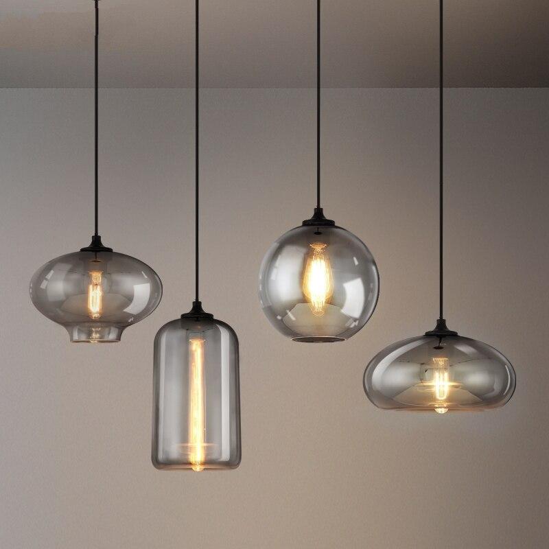 Lámpara colgante de cristal gris Estilo Vintage americano, lámpara colgante de estilo nórdico para sala de estar, lámpara colgante Industrial para Loft, Lámpara decorativa