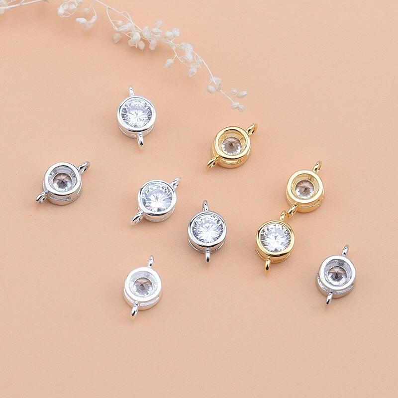 S925 plata de ley accesorios de joyería diy anillo de conexión doble accesorios de circonita hecho a mano manualidades con cuentas material accesso