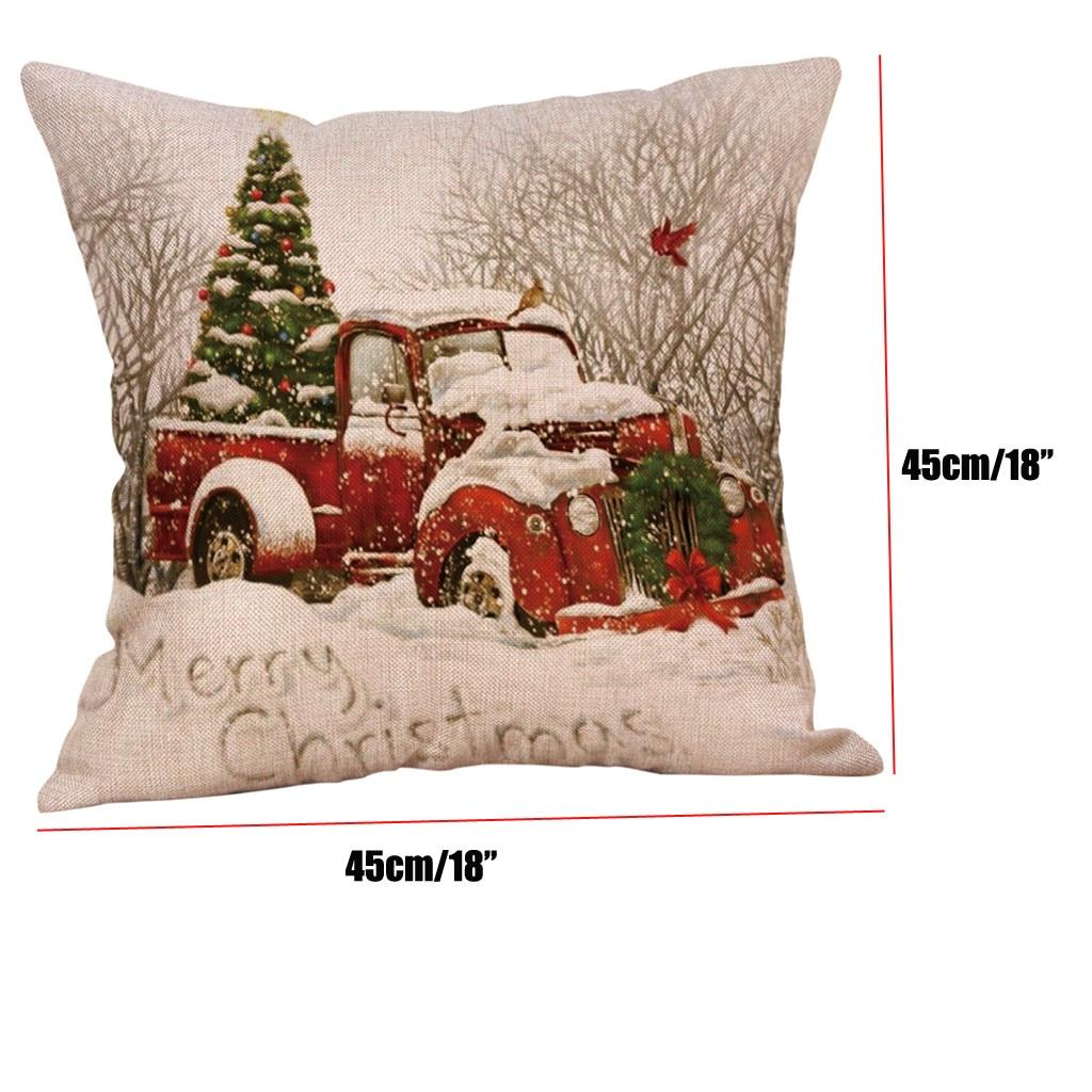 ¡Novedad de 2021! Innovadora funda de almohada navideña, funda de almohada navideña para tractor, Fundas de cojín con diseño navideño, funda de cojín de sofá de lino para decoración del hogar