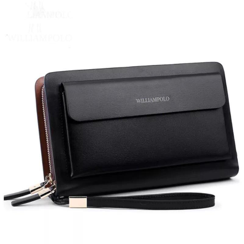 Купить с кэшбэком WILLIAMPOLO Luxury Business Solid Double Zipper Purse Long Clutch Bag Men's Wallet