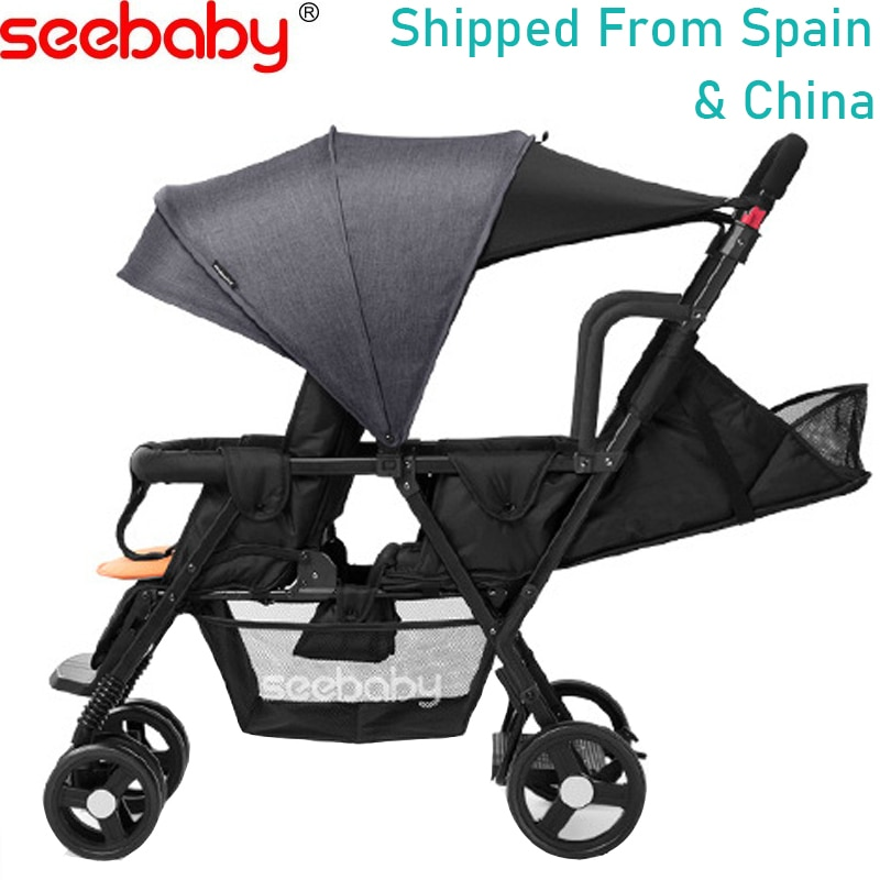 Seebaby التوأم الطفل عربة كبيرة صغيرة اثنين الطفل مزدوجة 4 عجلة عربة للطي خفيفة الوزن الأمامي والخلفي يمكن الجلوس و الاستلقاء
